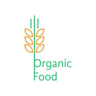 Cienkie kłosy pszenicy jak logo żywności ekologicznej. koncepcja słomy, pszenicy twardej, makaronu, identyfikacji wizualnej, uprawy. na białym tle. płaski trend w stylu liniowym nowoczesny projekt marki ilustracji wektorowych