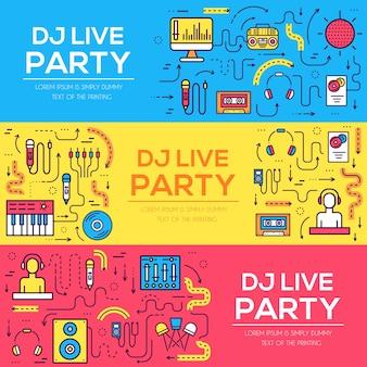 Cienkie linie ikon pracowników klubu nocnego dj i dowolnego zestawu wyposażenia. technologia muzyczna.
