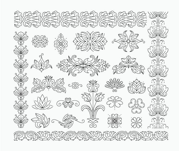Cienkie mono-line kwiatowe elementy dekoracyjne, zestaw izolowanych ozdobnych nagłówków, przekładki z liśćmi i kwiatami.