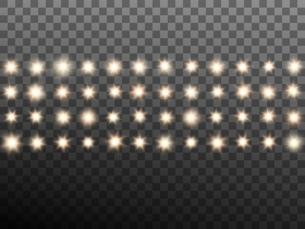 Ciepłe beżowe reflektory sceniczne lub stadionowe. przezroczyste tło tylko w