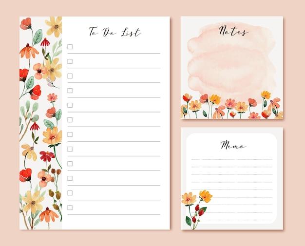 Ciepłe kwiaty akwarela listy rzeczy do zrobienia i szablony notatek