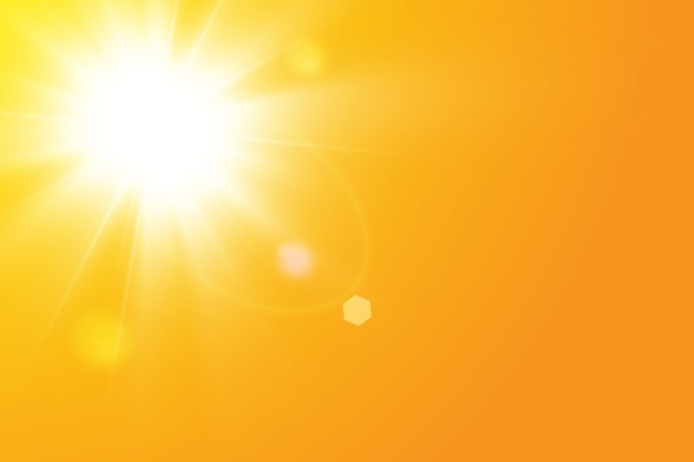 Ciepłe słońce na żółtym tle. leto.bliki promienie słoneczne
