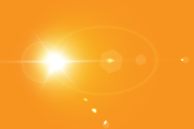 Ciepłe słońce na żółtym tle.