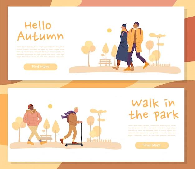 Ciepło ubrani ludzie na jesień baner nagłówka zestaw