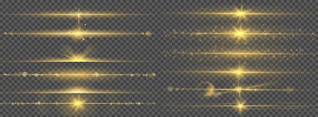 Ciepły blask linii świetlnych olśniewa. streszczenie jasny złoty błysk ze świecącą linią, promienie świecące obramowaniem, efekt świetlny flary, zestaw wektorów świetlnych. świecące złote gwiazdy, eksplozja, wschód słońca