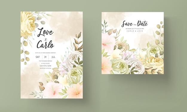Ciepły jesienny kwiatowy szablon zaproszenia ślubnego