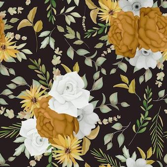 Ciepły jesienny kwiatowy wzór bez szwu
