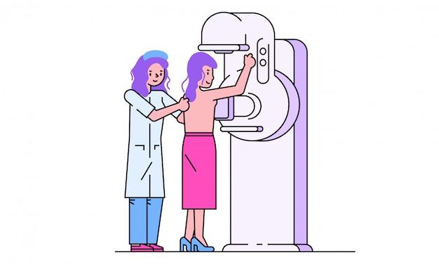 Cierpliwa wizyty lekarki ilustracja, kreskówki kobiety kreskowy charakter na sprawdzaniu dla diagnozy piersi na bielu