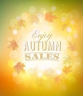 Ciesz się jesień tło sprzedaży z jesiennych liści. wektor.