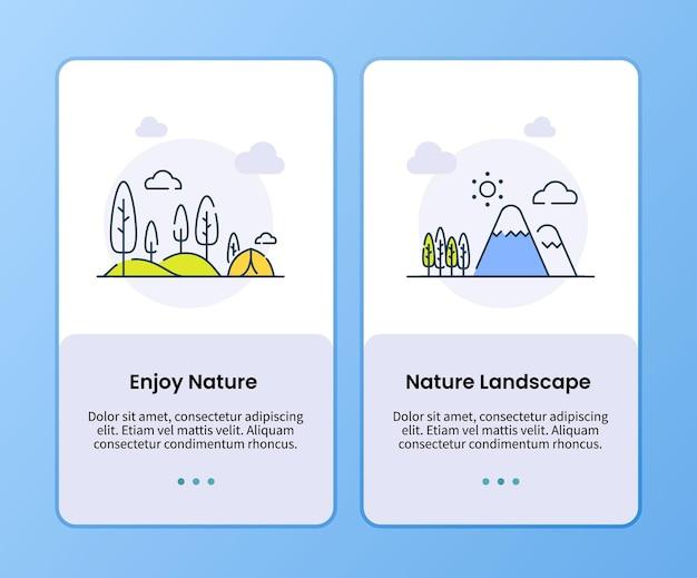 Ciesz się kampanią krajobrazu przyrody na szablonie na pokładzie