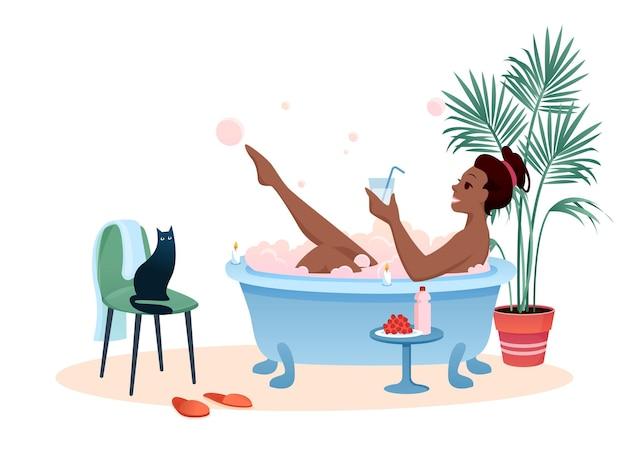 Ciesz się kąpielą. kreskówka młoda kobieta korzystających z relaksującej kąpieli bąbelkowej piany do picia koktajl