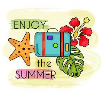 Ciesz się latem. akwarela letnie wakacje. letni baner.