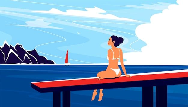 Ciesz Się Latem. Letnie Wakacje Na Plaży Z Dziewczyną Do Opalania Na Molo. Piękna Kobieta W Strojach Kąpielowych. Premium Wektorów