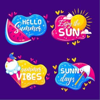 Ciesz się płaskimi etykietami letniego słońca