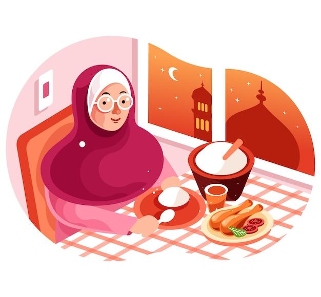Ciesz się posiłkiem iftar w ramadan illustration