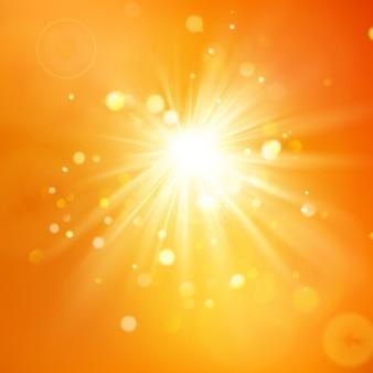 Ciesz Się Słońcem. Ciepłe światło Dzienne. Tło Lato Z Gorącym Słońcem Rozbłysk Z Flary Obiektywu. Premium Wektorów