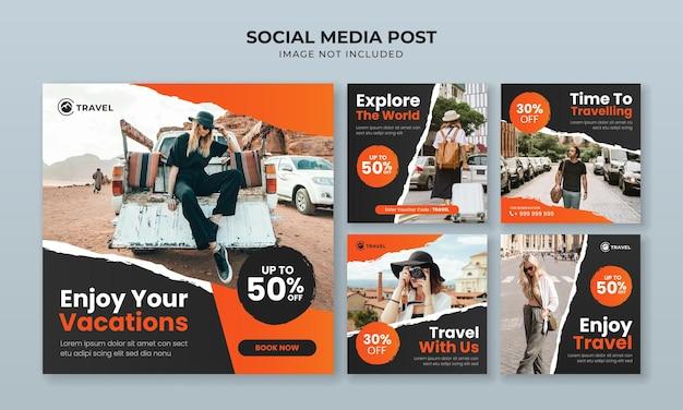 Ciesz się wakacyjnym szablonem postu na instagramie w mediach społecznościowych