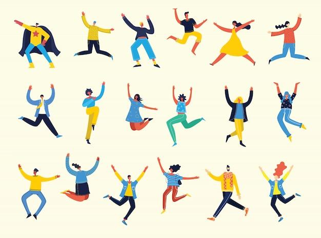 Ciesz się życiem. koncepcja młodych ludzi skaczących na niebieskim tle i radujących się życia w płaskiej konstrukcji
