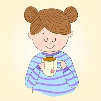 Ciesząc się picie herbaty