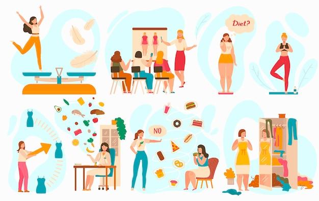 Ciężar straty program dla kobiet, zdrowy łasowania pojęcie, ilustracja