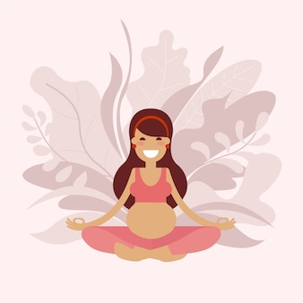 Ciężarna joga dziewczyna medytuje.