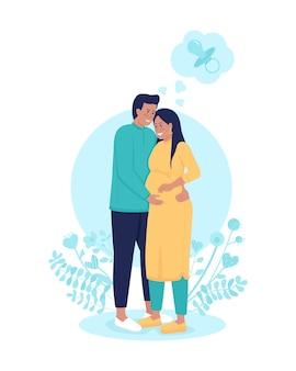 Ciężarna żona z mężem 2d ilustracji wektorowych na białym tle