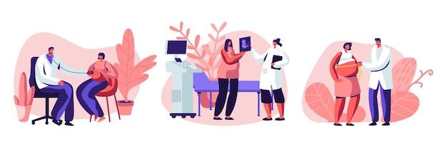Ciężarne postacie żeńskie na wizycie u lekarza. kreskówka płaski zestaw ilustracji
