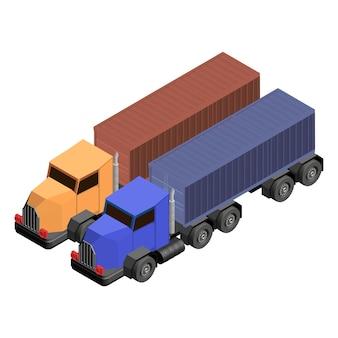 Ciężarowa ciężarówka odizolowywająca na tle