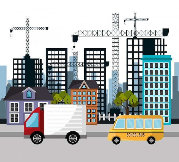Ciężarówka autobus szkolny dźwig miasto budynek