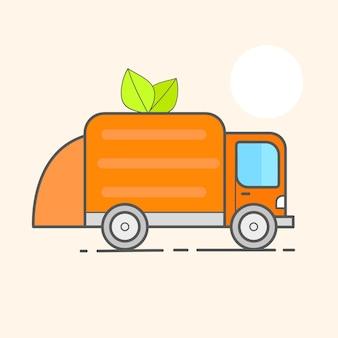 Ciężarówka do montażu, transportu śmieci. utylizacja odpadów samochodowych. może pojemnik, torba i wiadro na śmieci. fabryka recyklingu, sprzęt utylizacji. ilustracja wektorowa
