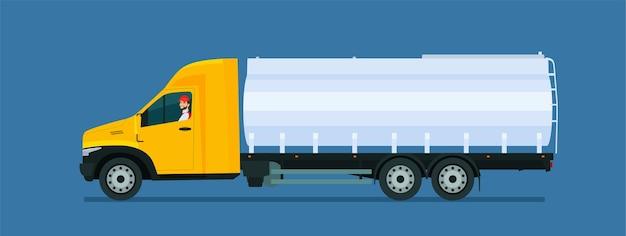 Ciężarówka do przewozu cystern z kierowcą na białym tle. ilustracja wektorowa płaski.
