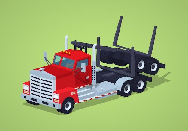 Ciężarówka do transportu drewna składana low poly