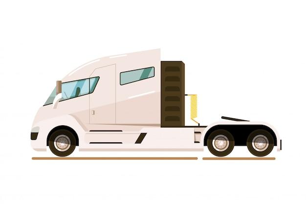 Ciężarówka dostawcza. nowoczesny ciągnik siodłowy do ciągnięcia naczepy w izolacji. wektor transportu ciężarówki dostawy. ilustracja transportu towarów. widok z boku