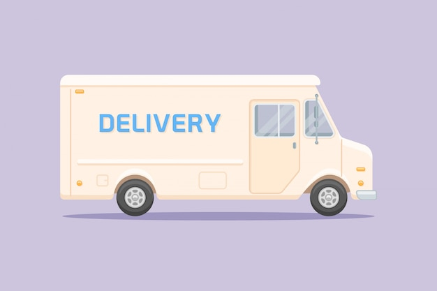 Ciężarówka dostawcza płaski styl
