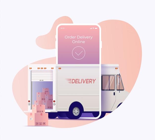 Ciężarówka dostawcza przybywa poprzez ekran smartfona z otwartym bagażnikiem i paczkami na zewnątrz. zamów i śledź dostawę koncepcji projektu banera usługi online. ilustracja.