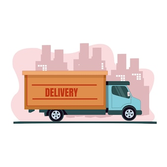 Ciężarówka dostawcza wysyła swoją paczkę w płaskiej konstrukcji
