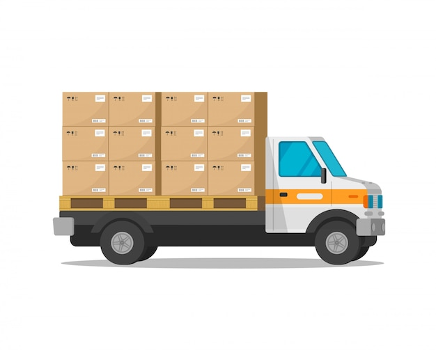 Ciężarówka dostawy na białym tle z paczka ładunków pudła płaskie kreskówka