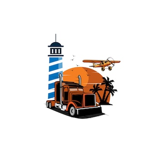 Ciężarówka i latarnia morska