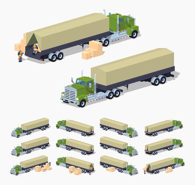 Ciężarówka izometryczna 3d lowpoly z przyczepą namiotową plandekową