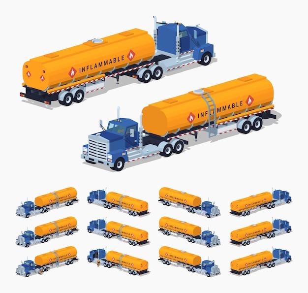 Ciężarówka izometryczna 3d lowpoly ze zbiornikiem paliwa