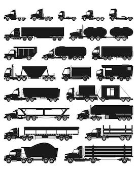 Ciężarówka na białym tle czarny zestaw ikon.