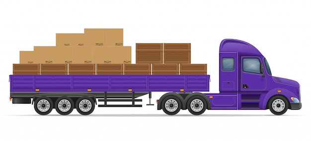 Ciężarówka naczepa do transportu towarów koncepcja ilustracji wektorowych