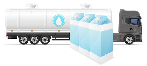 Ciężarówka naczepa dostawa i transport mleka koncepcja ilustracji wektorowych