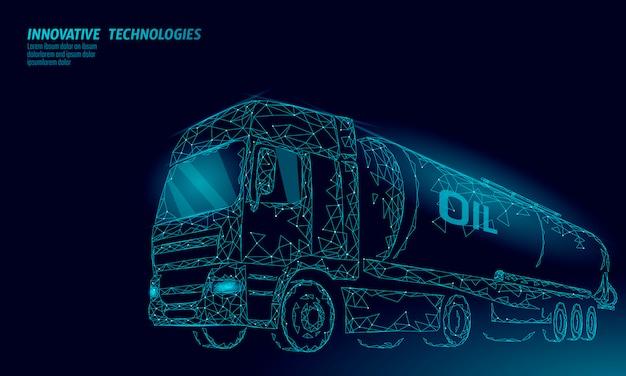Ciężarówka olej cysterna autostradą 3d render low poly. paliwo zbiornik oleju napędowego dla przemysłu naftowego. butla pojazdu dużego ładunku benzyny logistycznie ekonomiczna biznesowa poligonalna kreskowa wektorowa ilustracja