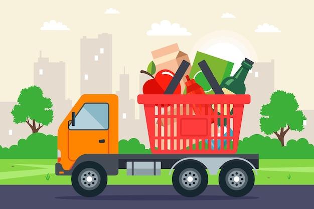 Ciężarówka przewozi koszyk na zakupy.