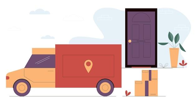 Ciężarówka przywozi kartony pod drzwi domuusługa dostawy online