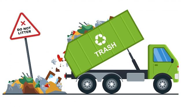 Ciężarówka wyrzuca śmieci w niewłaściwe miejsce.