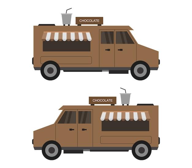 Ciężarówka z czekoladą na białym tle
