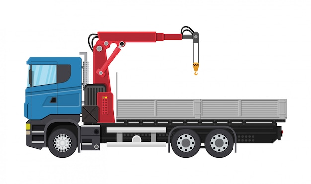 Ciężarówka z dźwigiem i platformą