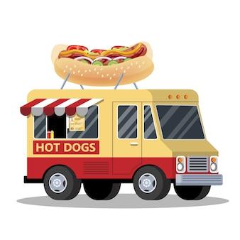 Ciężarówka z hot dogami. van ze smaczną przekąską